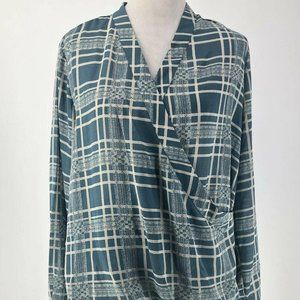 Cabi Ladies Green and Ivory Plaid V-Neck Top